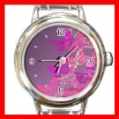 Pink Butterfly Fly Fashion Round Italian Charm Wrist Watch 569