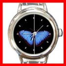 Classic Blue Butterfly Fly Round Italian Charm Wrist Watch 571