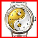 Gold Yin Yang Sign Fashion Round Italian Charm Wrist Watch 573