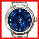 Blue Butterfly Fly Moon Round Italian Charm Wrist Watch 574