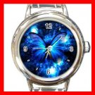 HOT Blue Butterfly Fly Round Italian Charm Wrist Watch 575