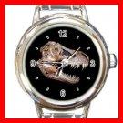 T-REX SKULL PALEONTOLOGY DINOSAUR Round Italian Charm Wrist Watch 578