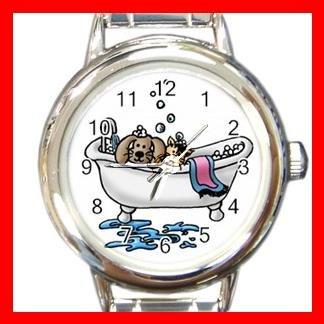 PET GROOMING CAT DOG BATH Round Italian Charm Wrist Watch 580