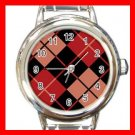 ARGYLE SQUARE Black Red Round Italian Charm Wrist Watch 585