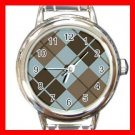 ARGYLE SQUARE Brown Color Round Italian Charm Wrist Watch 587