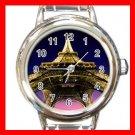 Eiffel Tower Paris France Round Italian Charm Wrist Watch 593