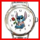 Stitch Love Rose Romantic Round Italian Charm Wrist Watch 609