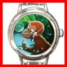 Curious George Monkey Round Italian Charm Wrist Watch 613