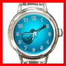 Blue Neon Guitar Music Italian Charm Wrist Watch 623