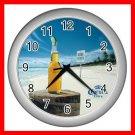 SUMMER CORONA BEACH SCENE Wall/Decor Clock-Silver 002