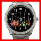 Colorful Neon Guitars Music Fun Silvertone Sports Metal Watch 002