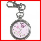 SUGAR PLUM NURSERY GIRLS KIDS Silvertone Key Chain Watch 001