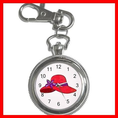 RED HAT SOCIETY LADIES Fun Silvertone Key Chain Watch 002