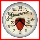 STRAWBERRY TASTY FRUIT Wall Clock-Silver 021