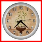 Lucky Bamboo Plants Decor Wall Clock-Silver 023