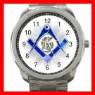 BLUE FREEMASONRY MASON Silvertone Sports Metal Watch 003