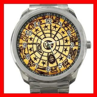 Rare Sun Tarot Astrology Silvertone Sports Metal Watch 014