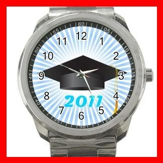 2011 Graduation Cap Students Silvertone Sports Metal Watch 016