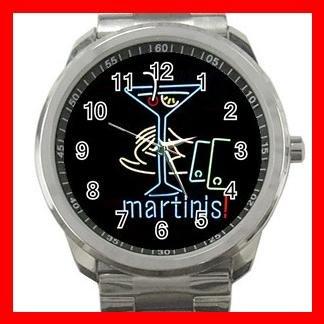 Martini Drink Party Fun Silvertone Sports Metal Watch 017