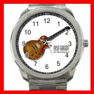 1959 GIBSON LES PAUL GUITAR MUSIC Silvertone Sports Metal Watch 031
