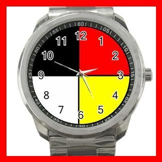 Medicine Wheel Silvertone Silvertone Sports Metal Watch 033