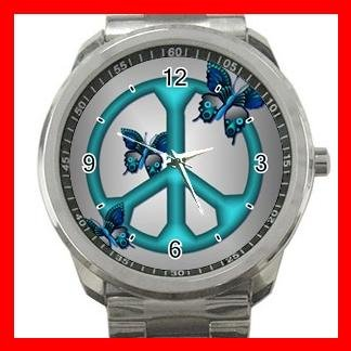 Peaceful Blue Butterflies Peace Silvertone Silvertone Sports Metal Watch 035
