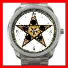 Wicca Wicca Pentagram Star Silvertone Silvertone Sports Metal Watch 038