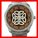 Rare Traditional Celtic Knot Silvertone Silvertone Sports Metal Watch 040