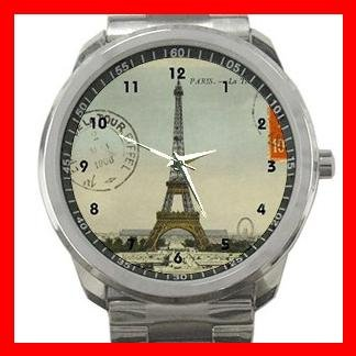 Vintage Paris Eiffel Tower Silvertone Silvertone Sports Metal Watch 041