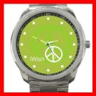 I Wish Peace Symbol Green Silvertone Sports Metal Watch 047