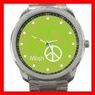 I Wish Peace Symbol Green Silvertone Sports Metal Watch 047