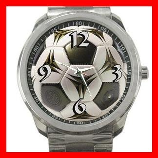 Modern Soccer Football Sports Silvertone Sports Metal Watch 048