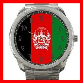 Afghanistan Flag Nation Silvertone Sports Metal Watch 051