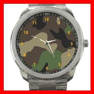 ARMY WOODLAND CAMO CAMOUFLAGE Silvertone Sports Metal Watch 052