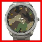 ARMY WOODLAND CAMO CAMOUFLAGE Silvertone Sports Metal Watch 052