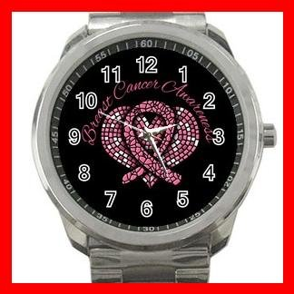 Breast Cancer Mosaic Heart Silvertone Sports Metal Watch 060