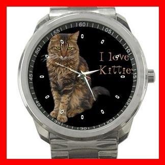 I Love Maine Coon Cat Kitten Silvertone Sports Metal Watch 061