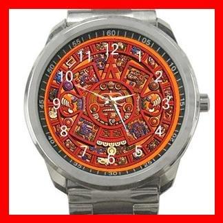 Orange Mayan Calendar Silvertone Sports Metal Watch 063