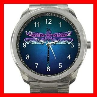 Unique Dragonfly Insect Silvertone Sports Metal Watch 066