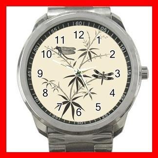 Dragonflies On Bamboo Silvertone Sports Metal Watch 067