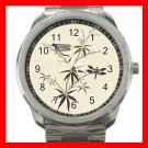 Dragonflies On Bamboo Silvertone Sports Metal Watch 067
