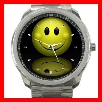 Smile Smiley Face Trick Silvertone Sports Metal Watch 070
