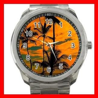 Sunset Beach Palm Tree Silvertone Sports Metal Watch 072