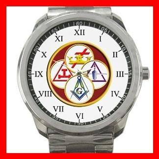 Masonic York Rite Freemasonry Silvertone Sports Metal Watch 081