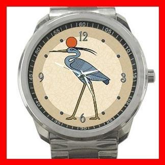 Sun Disc Benu Bird Silvertone Sports Metal Watch 082