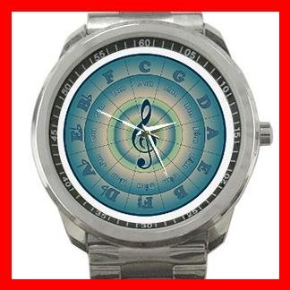 Colorful Circle of Fifths Music Fan Silvertone Sports Metal Watch 084
