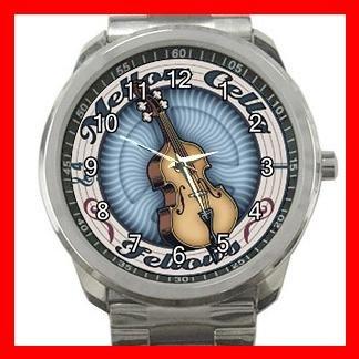 Mellow Cello Fellows Music Fan Silvertone Sports Metal Watch 085