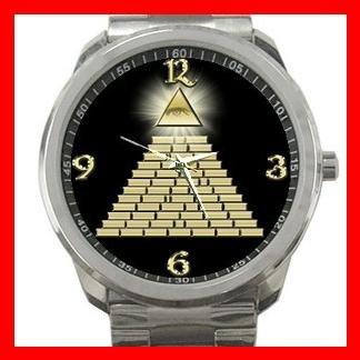 All Seeing Eye Pyramid Silvertone Sports Metal Watch 088
