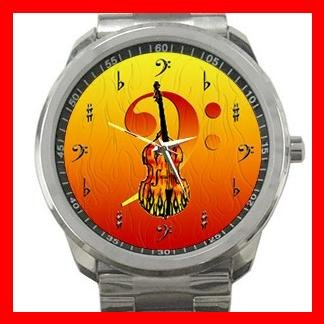 Bass Guitar Music Instrument Fan Silvertone Sports Metal Watch 095