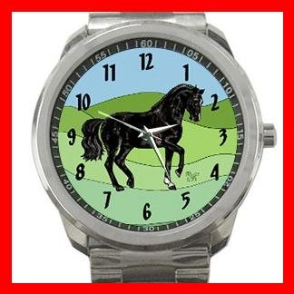 Black Horse Animals Horses Silvertone Sports Metal Watch 097